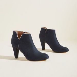 Navy blue faux suede booties with leather lining